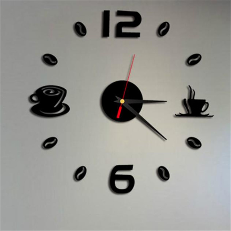 4 Colors Fashion Acrylic DIY Self Adhesive Interior Wall Creative Decoration Clock Wholesale Free Shipping 4RA16