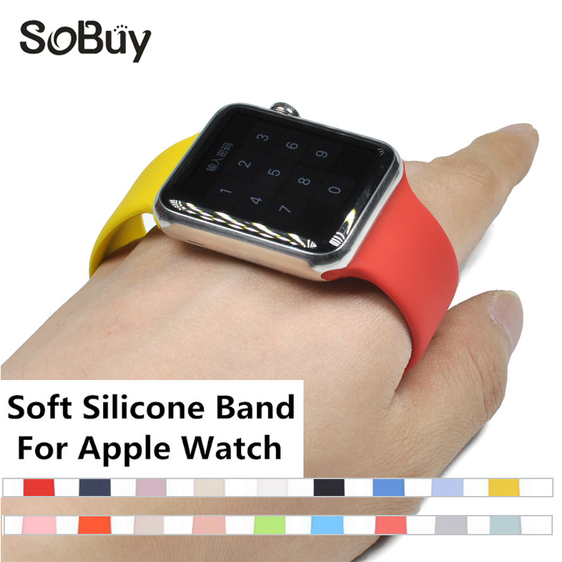 IDG Colorful Soft Silicone Replacement Sport Band 38mm For Apple Watch Series1 2 3 42mm Wrist Bracelet Strap For iWatch Sports silicone replacement wrist band strap bracelet for polar v800 sport smart watch t50p drop ship