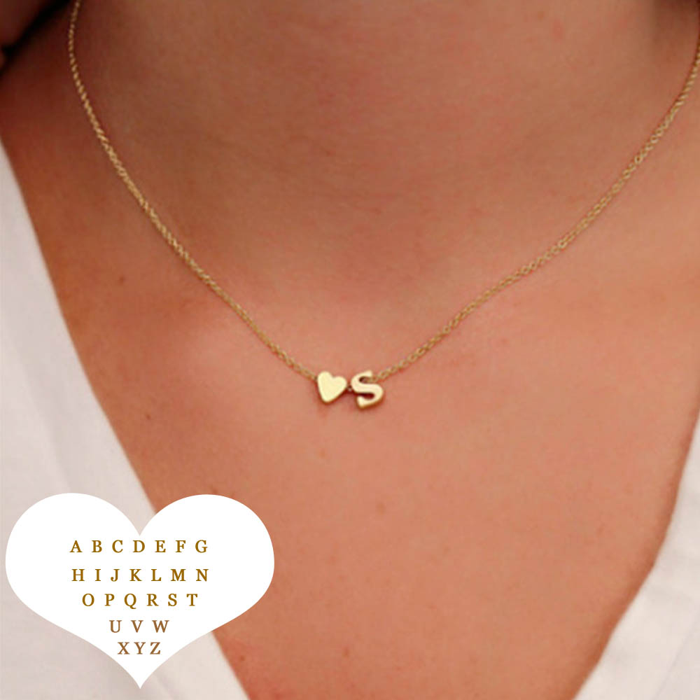 Naszyjnik Name Tiny Heart Dainty Initial Necklace With Letter Choker Chain Necklace Women Gold Color Pendant Jewelry Gift(China)