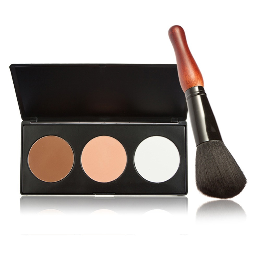 3 Colors Cosmetic <font><b>Contour</b></font> Face Concealer Powder Makeup Palette Gourd Brush