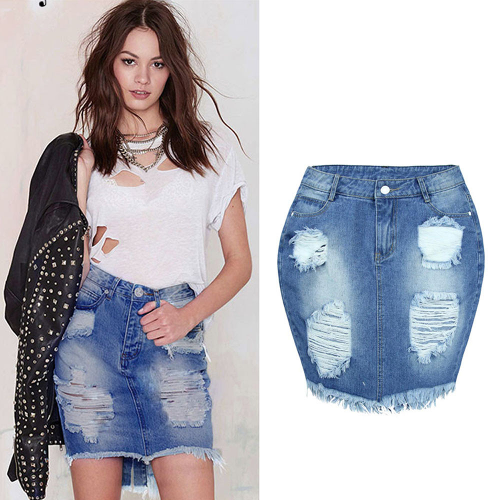 Fashion Casual Baily Sexy A-Line Women Denim Skirt Jeans High Waist Ripped Vintage Skinny Short Pencil Above Knee Mini Skirt 50