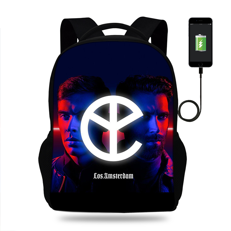 YELLOW CLAW High Quality Rucksack Daypack Hip hop School Bag Student Mens Backpack Casual Laptop Bag Boys Backpack USB Port