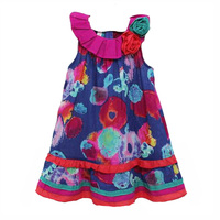 New Summer 2017 Baby Girl Dress Flower Abstract Printed Kids Clothes Brand Fashion Little Girl Dress