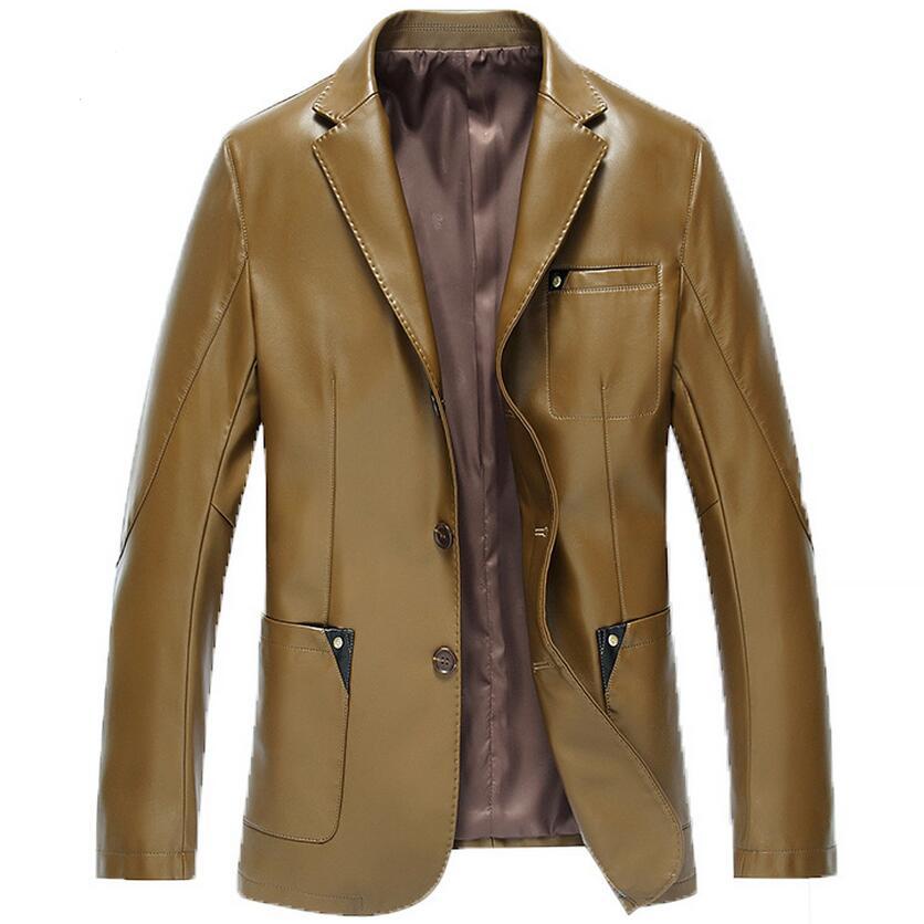 4 Color Leather Jacket Men 2016 Spring Autumn Business Men Leather Jacket Casual Suit Collar Leather Coat Men Brand Clothing