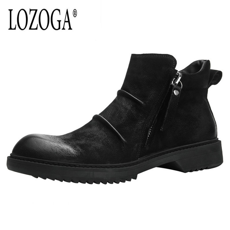 Lozoga Men's Shoes Western Boots Genuine Leather Retro Zip Boots Pleated Round Toe Handmade Brand Men Ankle Boots Casual Shoes mycolen brand quality genuine leather winter boots comfortable black men shoes men casual handmade round toe zip wear boots