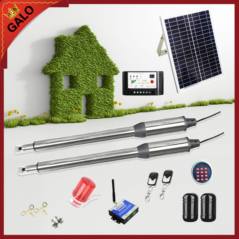 Galo 20W 17V Solar Panel Power System Linear Actuator Swing steel wooden Gate Opener 24VDC Motor with Infrared beams sonser
