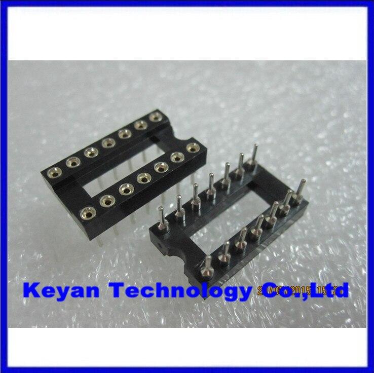 50pcs 14 Pin 2.54mm Pitch DIP IC Sockets Round Pin
