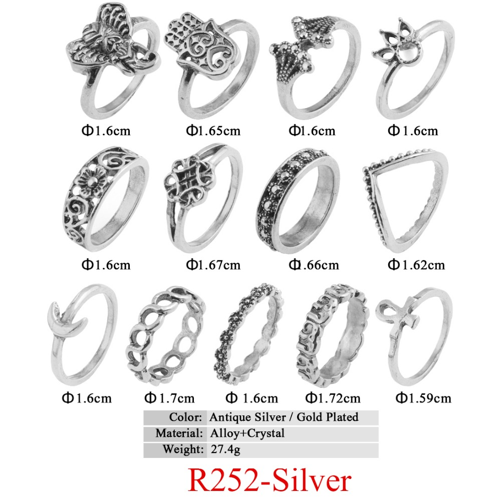 HTB1qQeDQVXXXXbMXFXXq6xXFXXXF 11-Pieces Boho Chic Spirituality Silver Plated Antique Stackable Ring Set - 9 Sets
