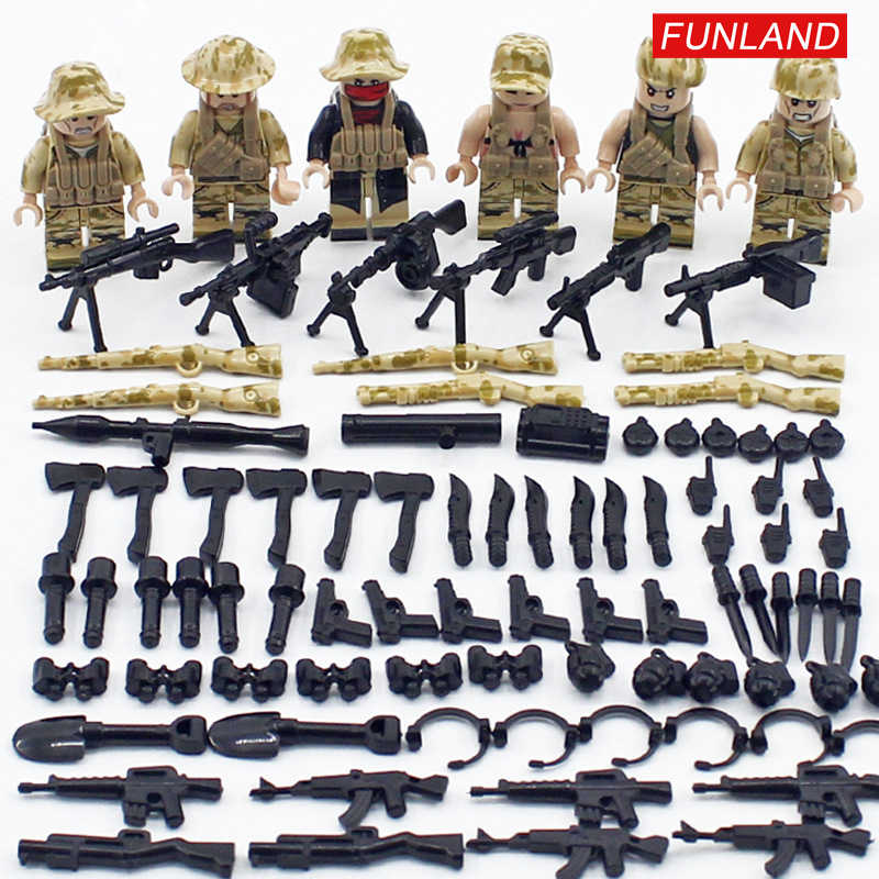 Modern military Game PUBG army brickmania figures building block ww2 Field soldiers minifigs weapons gun bricks toys for boys