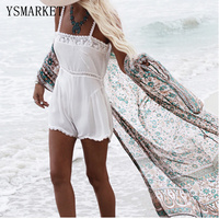Summer Beachwear Loose Chiffon Cardigan Tops New Women Sexy Hollow Out Printed Beach Tunic Female Bikini