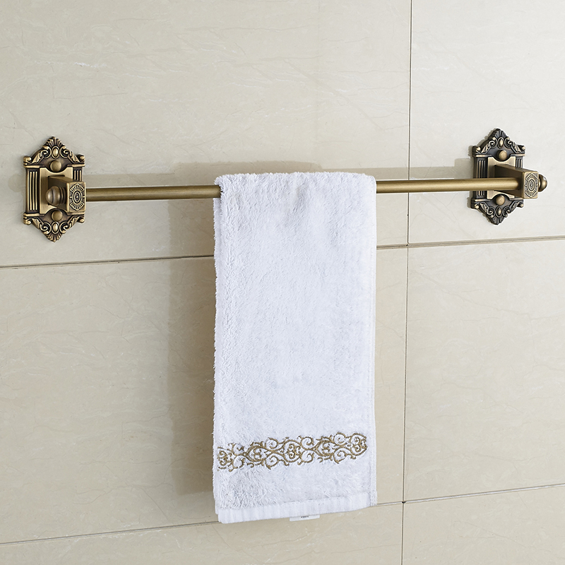 European Carved Copper Brushed Towel Holder Antique Brass Towel Rack Single Bar Wall Mounted Bathroom Hardware Sets the ivory white european super suction wall mounted gate unique smoke door
