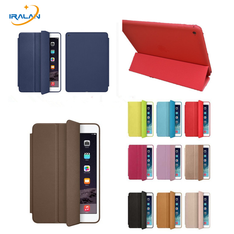 купить Original official 1:1 Tri-fold smart Cover for iPad Air 2/ipad 6 A1566 A1567 9.7 PU Leather Back Case Christmas gifts+film+pen недорого