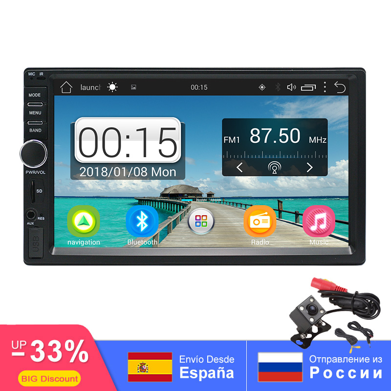 "2 Din Car Multimedia Player 1G+16G GPS Audio Video Android Car Stereo auto radio MP3 MP5 WiFi Bluetooth 7"" Touch FM/AM ISO cable"