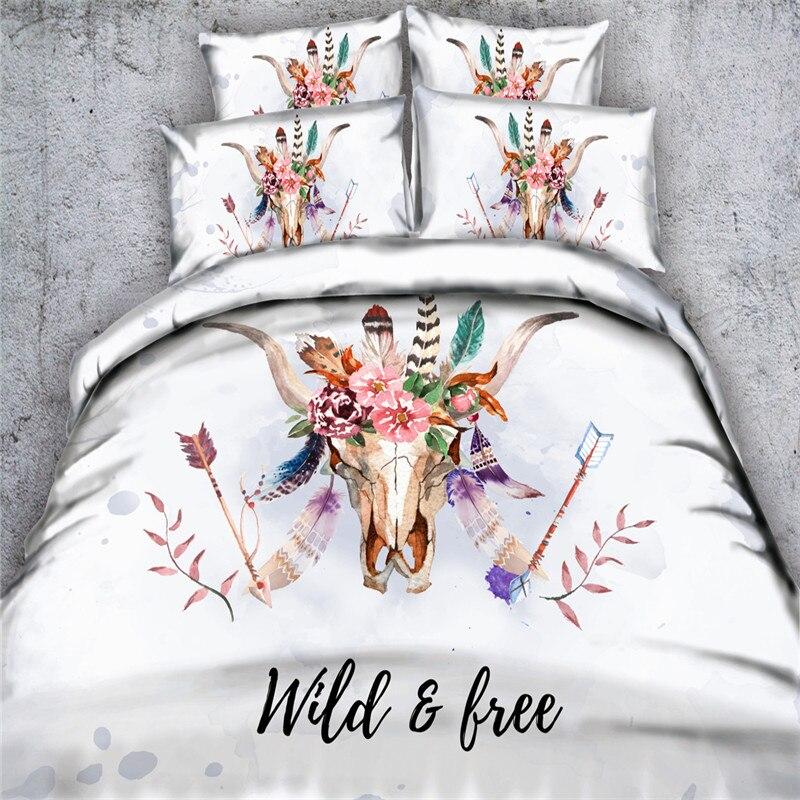 Livraison gratuite bande dessinée cerf/tête de taureau mouton ensemble de literie 1 housse de couette et 2 taies d'oreiller twin/complet/reine/roi/super king size