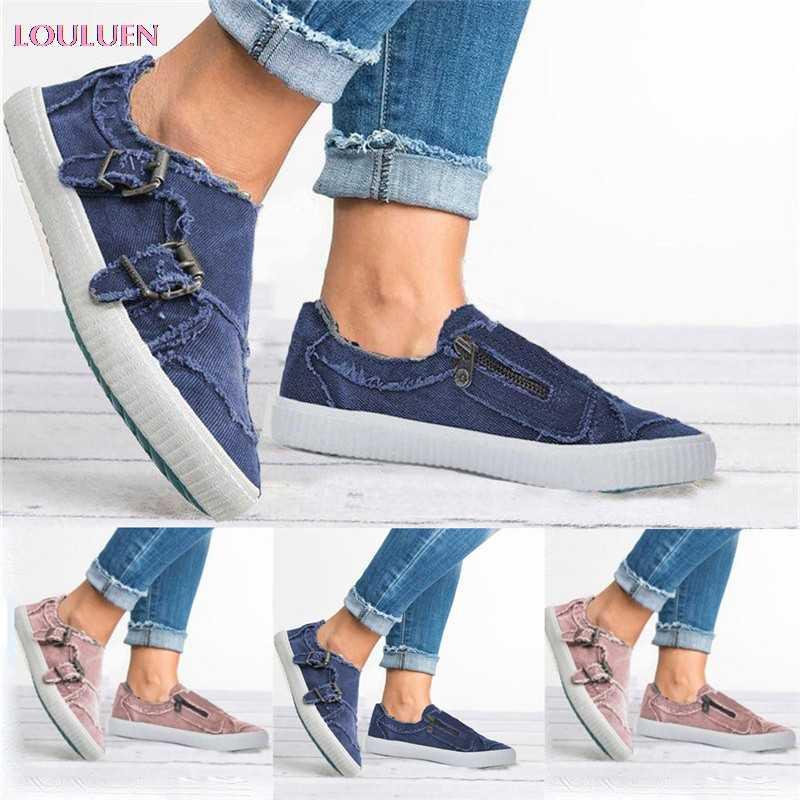 LOULUEN 2019 נעליים יומיומיות אפונת נשים הקיץ מזדמנים עם תחתית שטוחות אחת רוכסן חוף נעליים בתוספת גודל 35-43 זרוק #0527