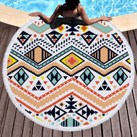 Geometric Bohemian Round Sand Beach Towel Summer Sport Microfiber Large Bath Towels With Tassels Lawn Outdoor Blanket Yoga Mat