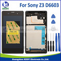 For Sony Xperia Z3 d6603 LCD Display Touch Screen Digitizer assembly with dual sim card frame+tool