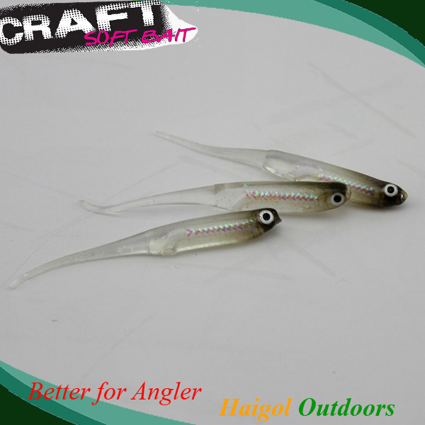 Pin Tail Soft Bait Soft Lure med lys Tube Pulver Soft-5900