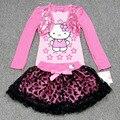 New girls cartoon t-shirt+skirt suit kids long sleeve cartoon set baby lovely t shirt with tutu skirt wholesale 2~6 T