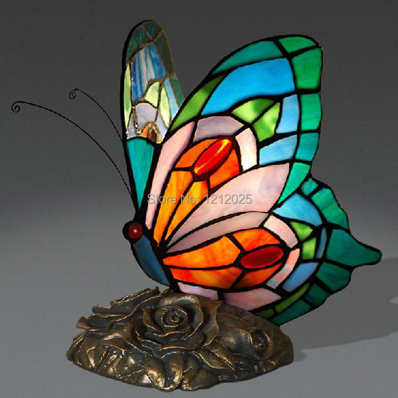 New Tiffany Stained Glass Butterfly Lamp Table Lamp Accent Light Novelty  Animal Lamp Bedroom Home Decor Handcraft Creative Gifts In Table Lamps From  Lights ...