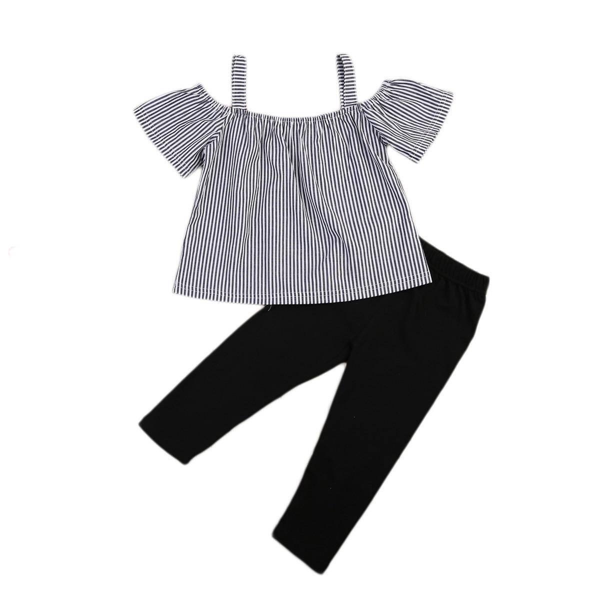 New Fashion Baby Girl Off Shoulder Tops Short Sleeve Loose T-Shirt Long Pants 2PCs Outfits Kid Toddler Clothing Set Cute