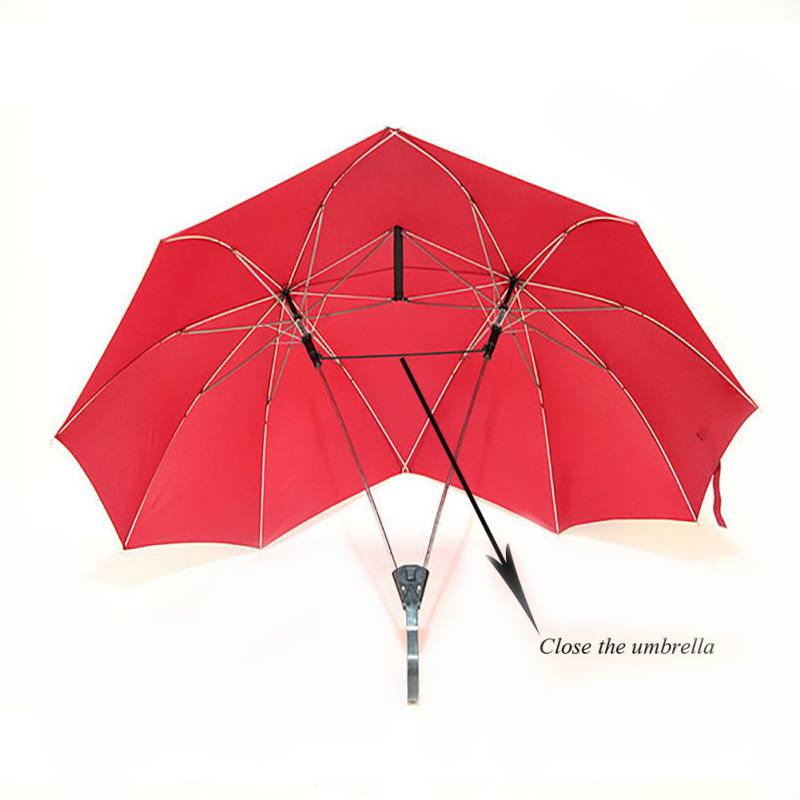 Solid Color Double People Umbrella for Lover Couple Red Blue Black Rain Gear for Garden and Travel Two People Umbrella Supplies
