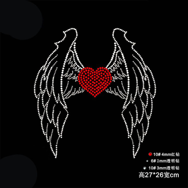 45391940 2pc/lot Angel wings heart hot fix rhinestone transfer motifs iron on crystal  transfers design patches for shirt coat