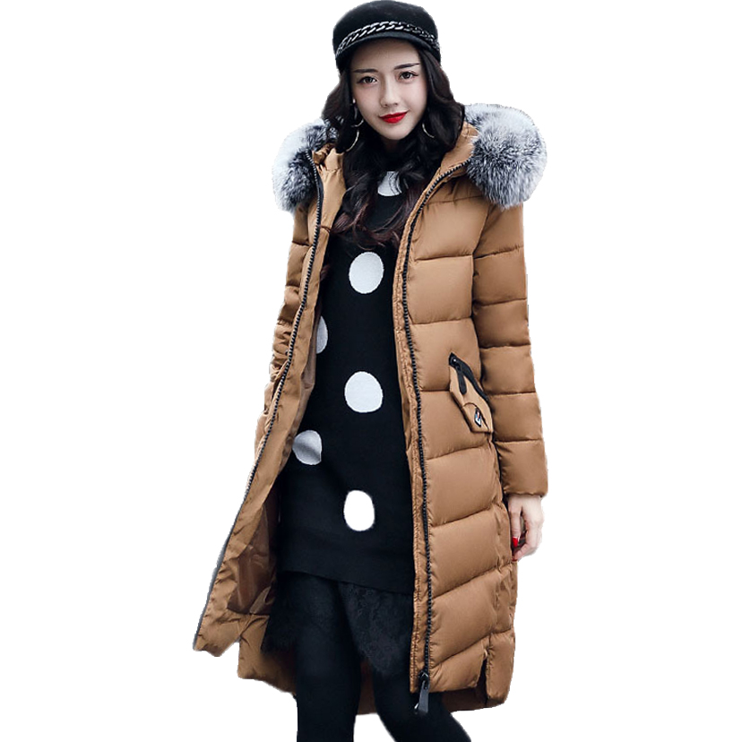 Winter Jackets New Women Slim Warm Wadded jacket Long sleeve Down Parkas Hooded Cotton-padded Big yards M-3XL Long Coat Female 2017 new winter women warm hooded thicken slim wadded jacket woman parkas female ladies wadded overcoat long cotton coat cxm31
