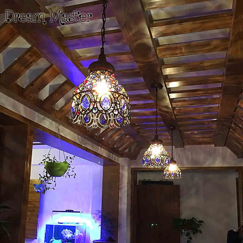 Coffee shop chandelier Mediterranean Style Crystal Chandelier restaurant aisle bar balcony corridor lights Postage free