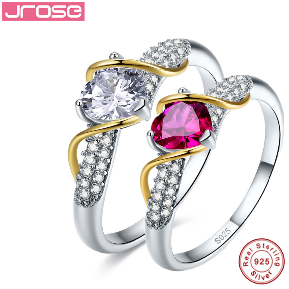 Jrose genuine 100% standard 925 sterling silver ring womens wedding anniversary wedding heart-shaped jewelry special wholesale