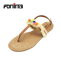 FONIRRA Women Sandals Embroidered Tassel Shoes Roman Strap Flats Sandals National Style Women Sandals Bohemia Flats