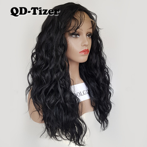 Image 5 - QD Tizer Loose Wave Black Color Wigs Baby Hair Glueless Synthetic Lace Front Wig High Density Hair Wig for Black Women