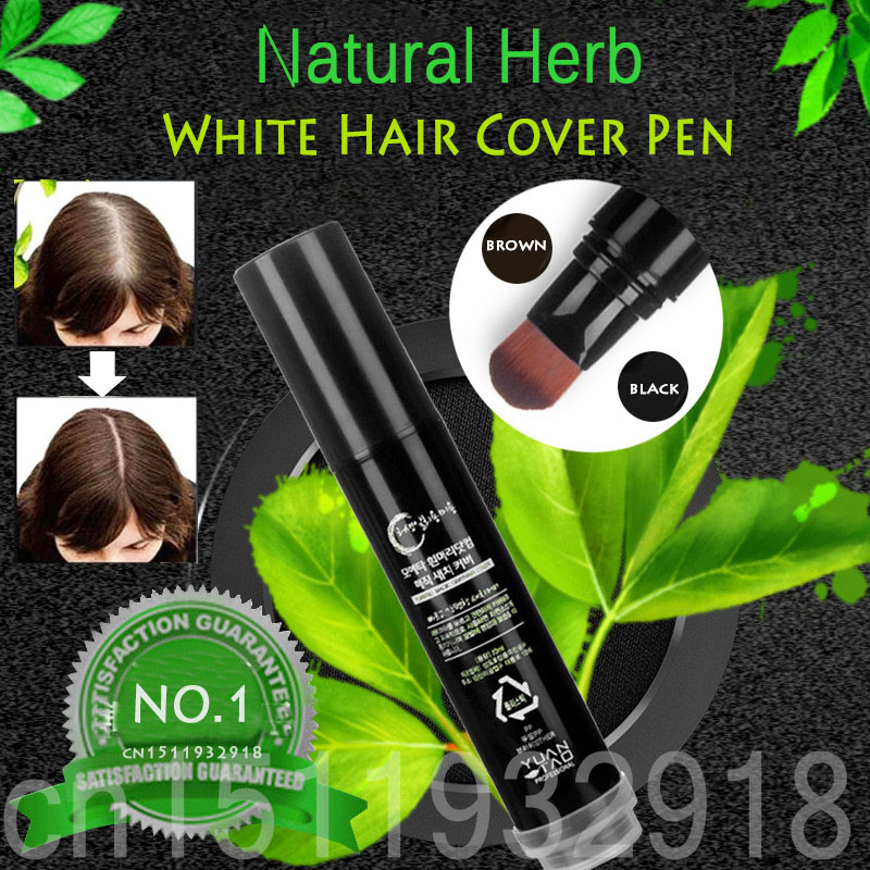 100% Natural Herb White Hair Cover Pen Long-Lasting Black Brown Temporary Hair Dye Cream Mild Fast One-off Hair Color Pen 20g 100ml unisex gray color temporary hair dying dye cream hair beauty salon tool
