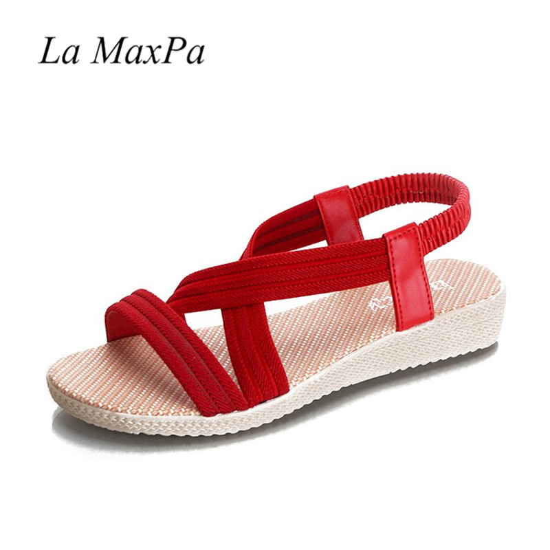Flats Women Sandals Fashion Casual Beach Girls Summer Sandals Bohemian Lady Shoes Stretch Fabric Casual Sandal Big Size 35-42 summer tassel sandals fashion rivet gladiator sandals women flats big size hollow shoes woman casual sandal free shipping