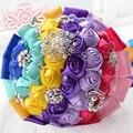 2016 Rainbow Colorful Bridal Bouquet Wedding Bouquet Cheap Handmade Artificial Rose Flower Bridal Bouquet