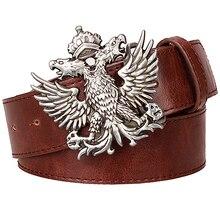 Cool men's leather belt Headed eagle hip hop punk belt metal Double headed eagle pattern Russian style belt rock dress up strap
