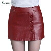 M 4XL Women Skirts Autumn Spring Ladies Single Breasted High Waist PU Leather Skirts Shorts Women