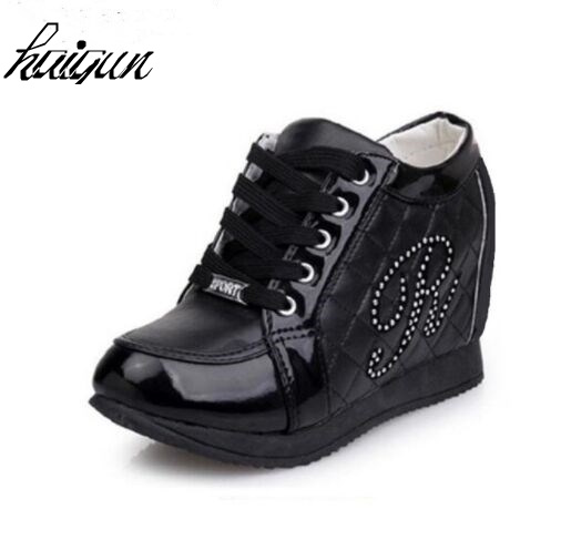 4243984ec8d3 Hot Sales New 2017 Autumn Black White Hidden Wedge Heels Casual Shoes  Women s Elevator High heels boots For Women Rhinestone-in Women s Vulcanize  Shoes from ...