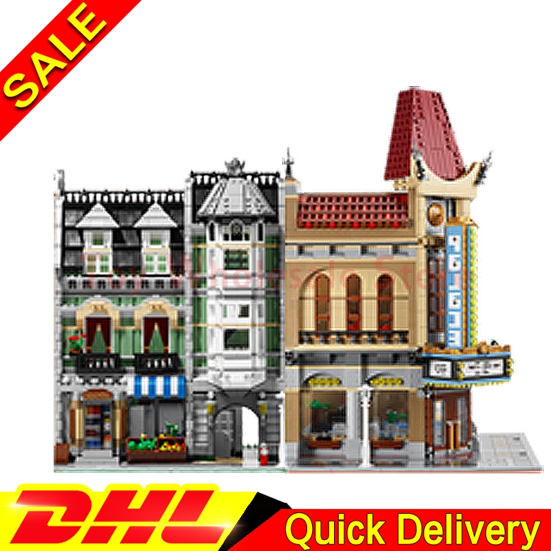 Lepin 15006 Palace Cinema + Lepin 15008 Green Grocer Model Building Street Sight Kits Blocks Bricks lepins Toy 10232 10185 lepin 15008 city street green grocer model building kits blocks bricks compatible educational toy legoing 10185 for children