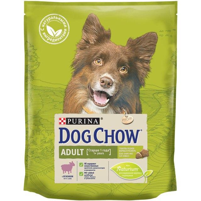 Сухой корм Dog Chow для взрослых собак, с ягненком, Пакет, 800 г