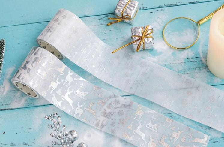 1 Roll Creative Silver Laser Washi Tape , Winter Snowflake Christmas Series Tape for DIY Scrapbooking