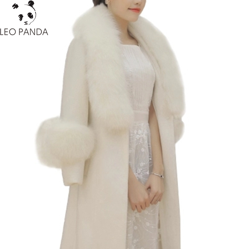 Winter Fashion Slim Women White Cashmere Coat Fake Fox Fur Collars Wool Jacket Plus Size Long Trench Coat 2018 Female Overcoats
