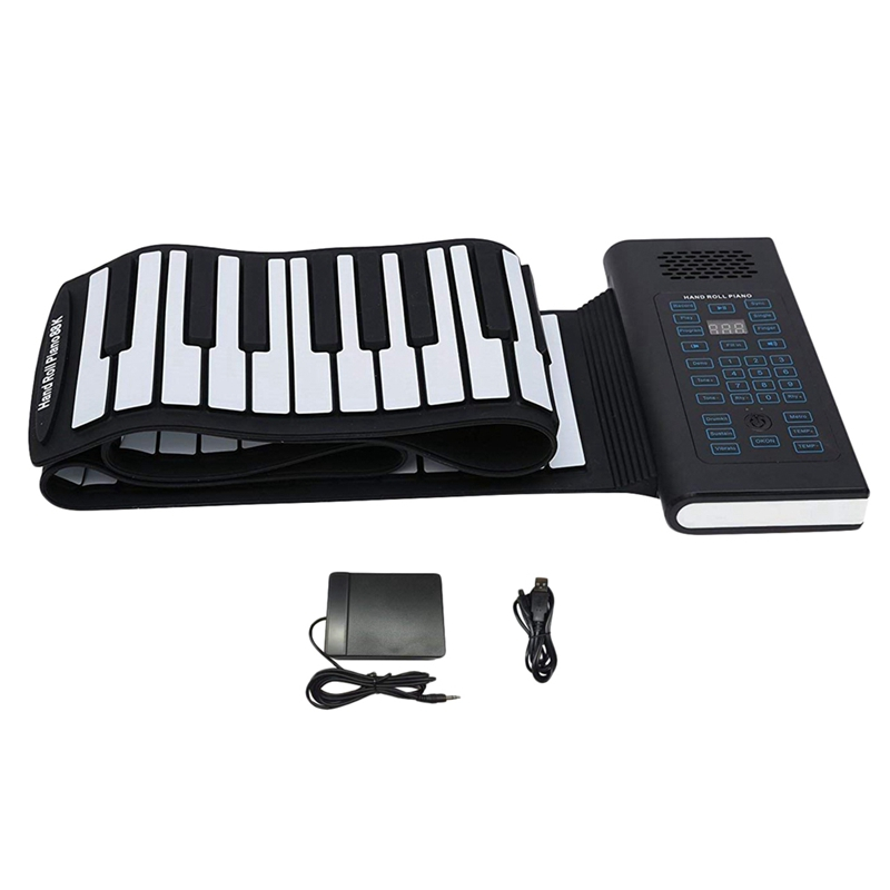 New Roll Up Piano 61Keys Rechargeable Electric Keyboard Premium Grade Siliconeand Upgraded Built-In Amplifying Speakers And Ba