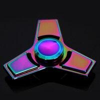 Metal Fidget Spinner Tri Spinner Rainbow Colorful EDC Gyro Toys Hand Spinner Torqbar Brass Gyroscope