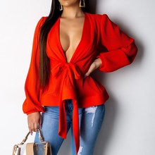купить Elegant Lantern Sleeve White Blouse Sexy Women V Neck Sashes Wrap Blouse Casual Solid Summer Ruffle Hem Peplum Top Blusas по цене 875.03 рублей