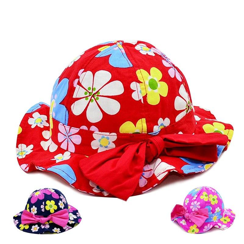 Flower Baby Girls Hat Bow Sombrero de protección solar Bucket - Ropa de bebé