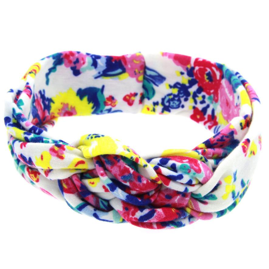 woweile # 4014 Printing Intersect Elastic Cloth Headband