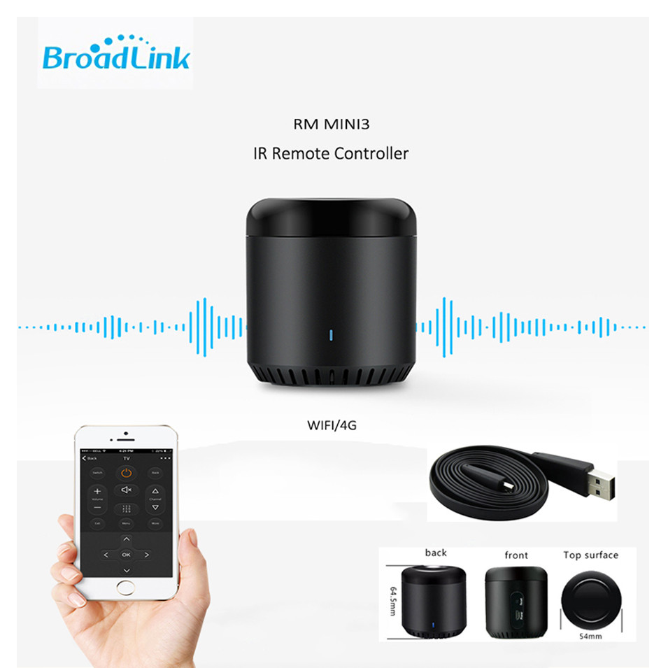 New Broadlink RM Mini3,Smart Home Automation,WiFi+IR+4G,Universal Intelligent APP Wireless IR Remote Controller, Black Bean