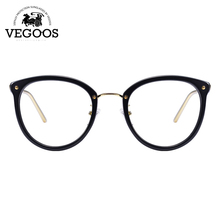 VEGOOS Designer Brand Men/Women Glasses Acetate+Stainless Steel frame new design round cat eye frame prescription lens #5082