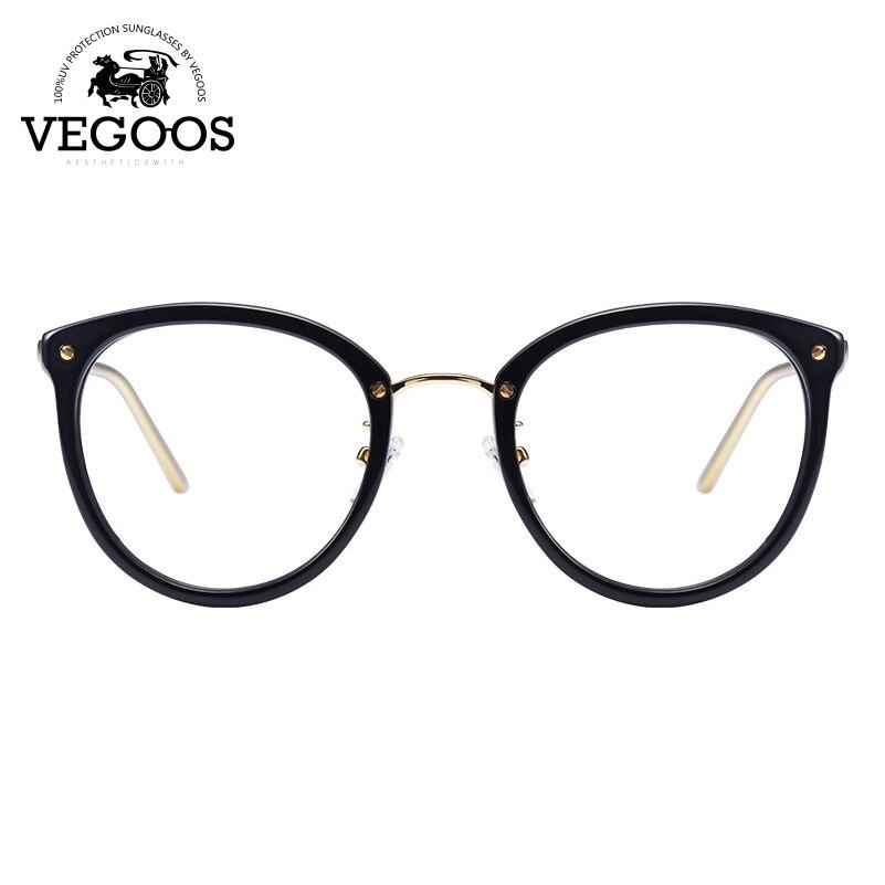 027b620d0d16 VEGOOS Designer Brand Men Women Glasses Acetate+Stainless Steel frame new  design round cat eye frame prescription lens  5082-in Eyewear Frames from  Women s ...